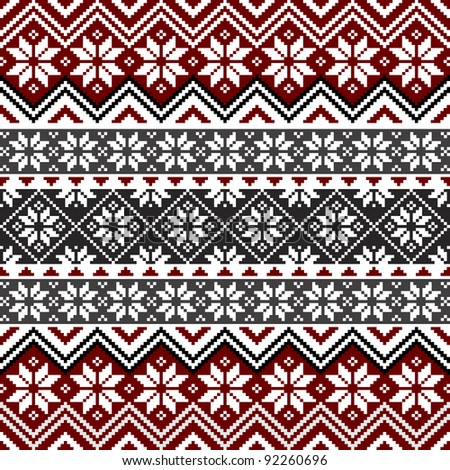 Nordic traditional pattern with snowflakes, white, grey and red design, full scalable vector graphic, all elements are grouped for easy editing - stock vector
