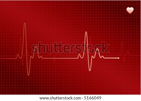 Normal ECG (electronic cardiogram) red - stock vector