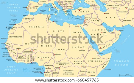 North africa middle east political map stock vector royalty free north africa and middle east political map with most important capitals and international borders maghreb gumiabroncs Image collections