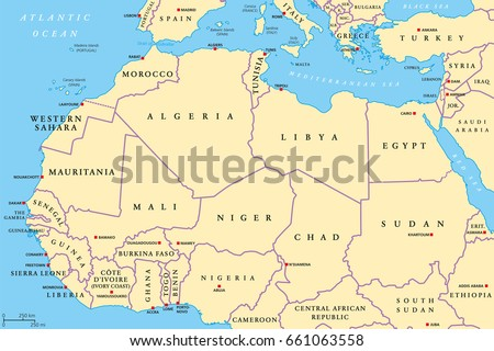North Africa Countries Political Map Capitals Stock Vector 661063558