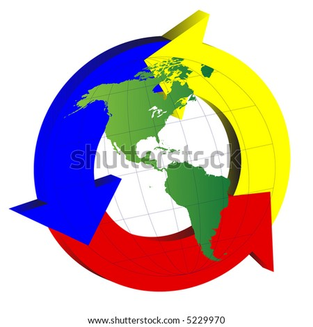 North America and South America over recycling symbol