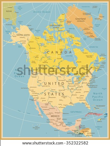 North America Detailed Map Vintage Colors.