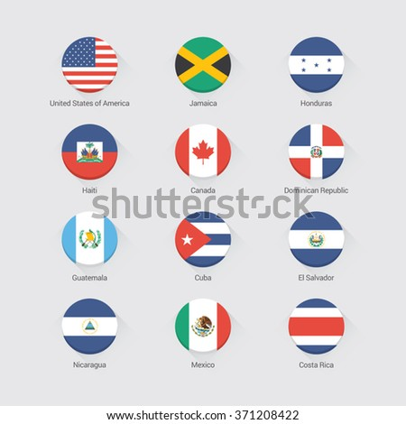 North America flat flags set - stock vector