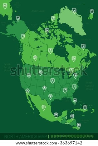 North America Green Map-Vector Illustration - stock vector