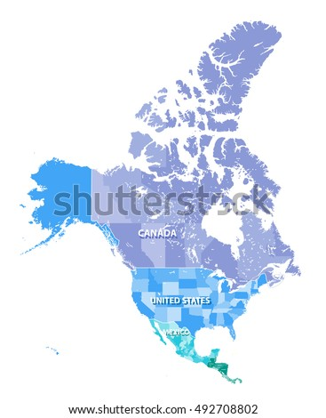 Map Canada Usa Mexico States Borders Stock Vector - Mexico and usa map