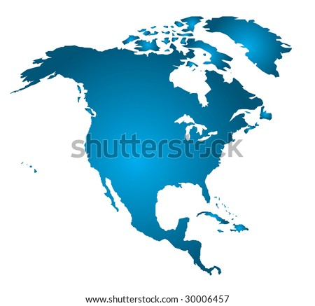 North America in one piece (Vector Art)  Gradient can be modified for any effect desired! - stock vector