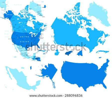 North America map and country contours - Illustration - stock vector