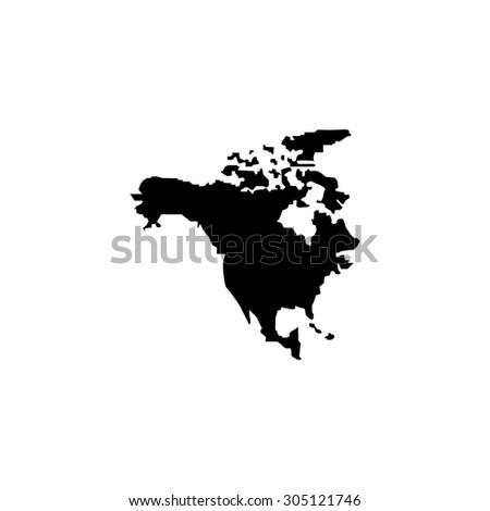 North America Map. Black simple vector icon - stock vector