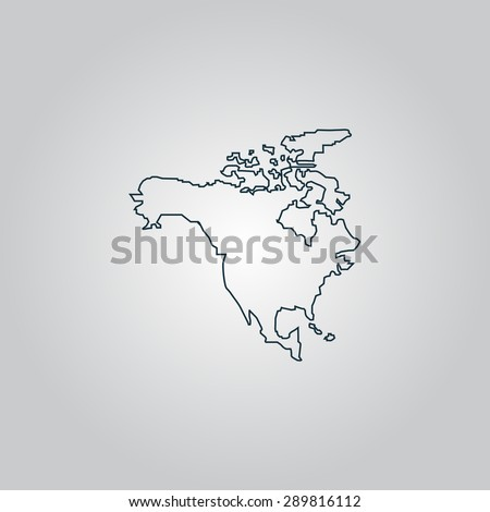North America Map. Flat web icon, sign or button isolated on grey background. Collection modern trend concept design style vector illustration symbol - stock vector