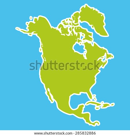 North America Map Green continent on blue background. Vector - stock vector