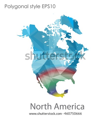 North America map in geometric polygonal style.Abstract gems triangle,modern design background.Vector Illustration EPS10.