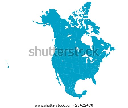 North America map including US, Mexico and Canada with state boundaries