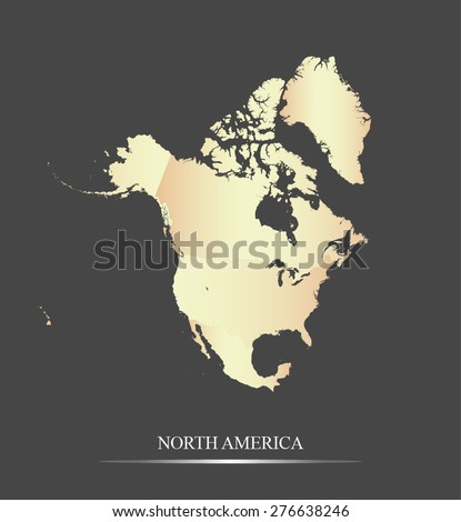 North America map outlines in an abstract black and white design, vector map of North America in a grey background - stock vector