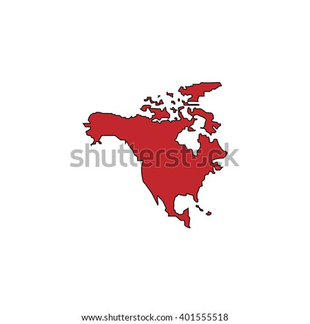 North america map red flat simple stock vector 401555518 north america map red flat simple modern illustration icon with stroke collection concept vector sciox Gallery