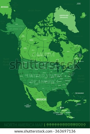 North America Map-Vector Illustration - stock vector