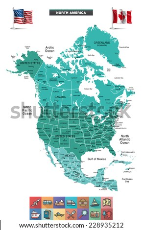 North America Map with flag and travel icons. Eps10 - stock vector