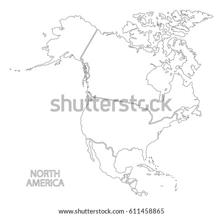 Perfect North America Outline Silhouette Map With Countries