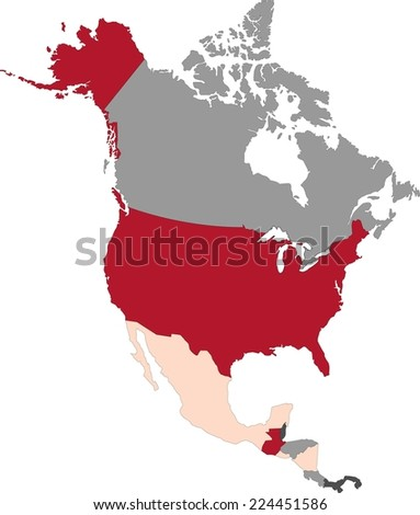 North America political map with pastel colors. - stock vector