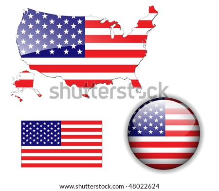 North American USA flag, map and glossy button, vector illustration set. - stock vector