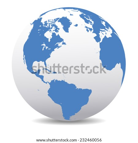 North and South America, Europe, Africa Global World - stock vector