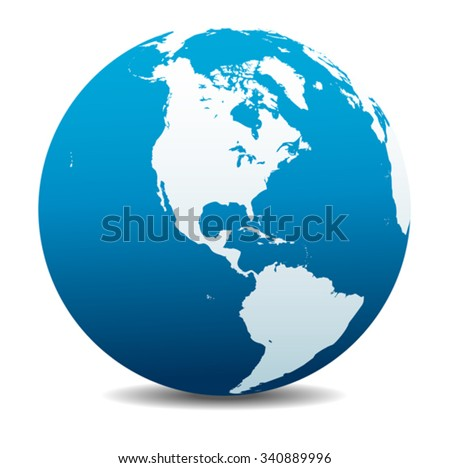 North and South America Global World - stock vector