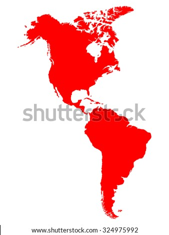 North and South America map - stock vector