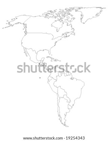 north and south america map vector illustation - ecology green series - stock vector