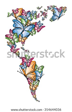 North and South America world map silhouette made of butterfly illustration - stock vector