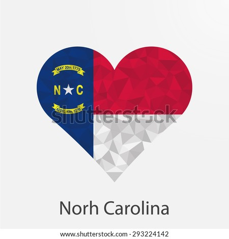 North Carolina flag heart in geometric,mosaic polygonal style.Love to country and state.Abstract tessellation,background. Vector illustration EPS10 - stock vector