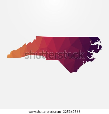 North Carolina in geometric polygonal style. Abstract tessellation, modern design background. Vector illustration EPS10 - stock vector