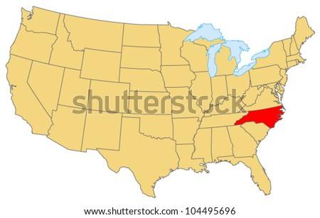 North Carolina Locate Map - stock vector