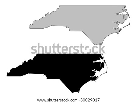 North Carolina map. Black and white. Mercator projection. - stock vector