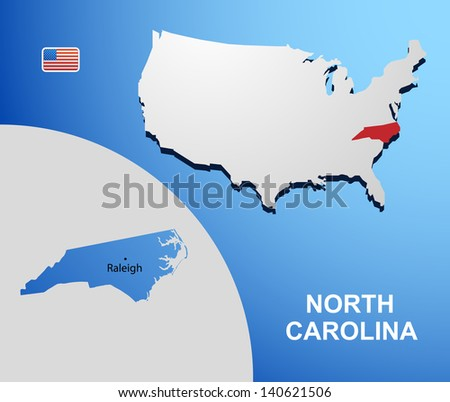 North Carolina on USA map with map of the state
