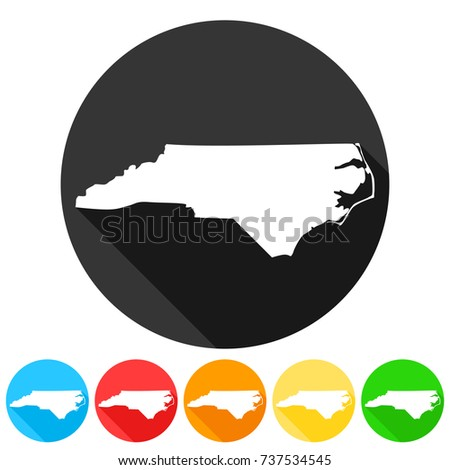 North Carolina Usa Symbol Icon Round Stock Vector Royalty Free
