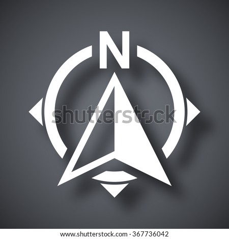 North direction compass icon, stock vector - stock vector