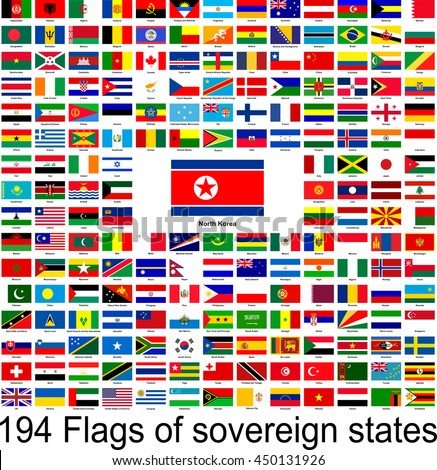 North Korea, collection of vector images of flags of the world