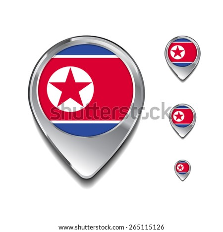 North Korea flag map pointer. 3d Map Pointer with flag glossy button style on gray background - stock vector