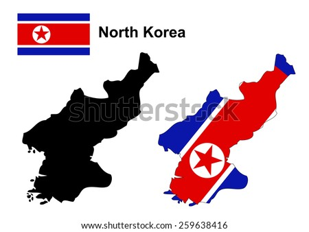 North Korea map and flag vector, North Korea map, North Korea flag - stock vector