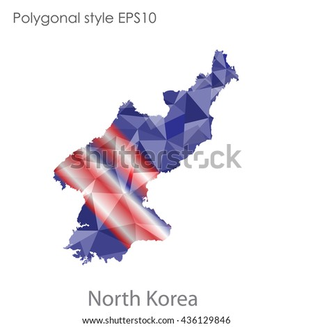 North Korea map in geometric polygonal style.Abstract gems triangle,modern design background. Vector illustration EPS10