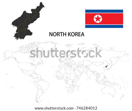 North Korea Map On World Map Stock Vector Shutterstock - World map north korea