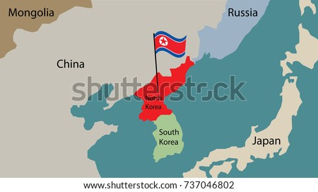 North Korea Map Flag Korea Stock Vector 737046802 Shutterstock