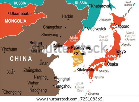 North korea south korea japan china vector de stock725108365 north korea south korea japan china russia mongolia map detailed vector illustration gumiabroncs Choice Image