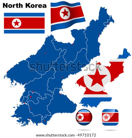 North Korea vector set. Detailed country shape with region borders, flags and icons isolated on white background.