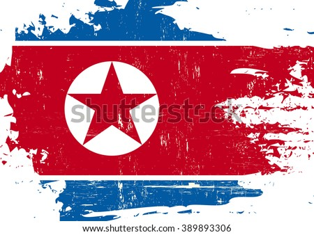 North Korean scratched Flag. A North Korean flag with a grunge texture - stock vector