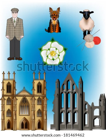 North of England vector illustrations - Yorkshire, York Minster, Whitby Abbey, White Rose of Yorkshire, Yorkshire Terrier