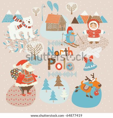 North Pole Christmas card - stock vector