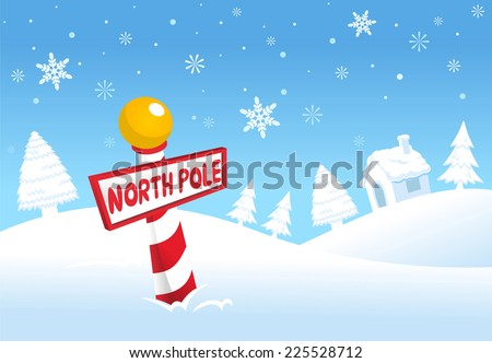 North pole christmas landscape scene vector cartoon illustration - stock vector