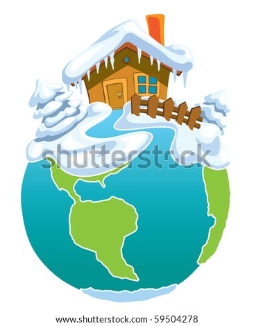 North Pole, Globe with Santa Claus house. - stock vector