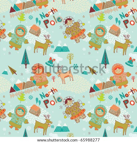 North Pole seamless pattern - stock vector