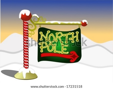 North Pole sign. - stock vector